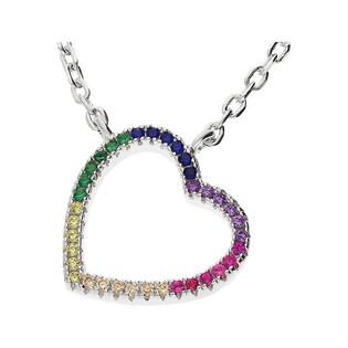 Naszyjnik srebrny serce bokiem z cyrkoniami kolorowymi MB AS1154 próba 925 Sezam - 1