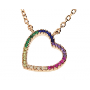 Naszyjnik srebrny ROSE serce bokiem z cyrkoniami kolorowymi MB AS1154 rose próba 925 Sezam - 1