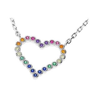 Naszyjnik srebrny z sercem zdobiony kolorowymi cyrkoniami nr MB AG0365 próba 925 Sezam - 1