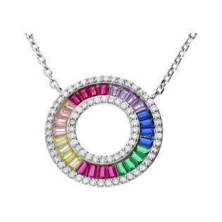 Naszyjnik srebrny z kółkiem w kolorach tęczy nr MB AG0354 próba 925 Sezam - 1