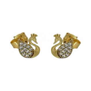 Kolczyki złote łabędzie numer MZ ES117-CZ Au 585