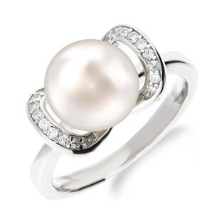 Pierścionek srebrny z perłą białą 8mm i cyrkoniami CP RPB93103 próba 925 Sezam - 1