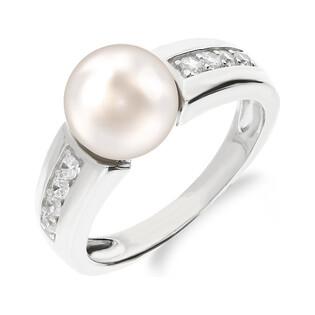 Srebrny pierścionek z perłą białą 10mm z cyrkoniami w szynie CP RPB71710 próba 925 Sezam - 1