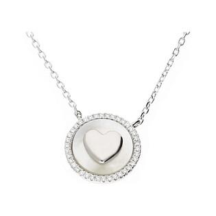 Naszyjnik srebrny z sercem na masie perłowej CP NPB97012 próba 925 Sezam - 1