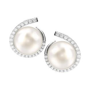 Kolczyki srebrne z perłą białą 8mm w kropli cyrkonii CP EPB96377 próba 925 Sezam - 1