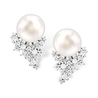 Srebrne kolczyki z perłą białą 10mm zdobione szpicem z cyrkonii CP PPB94735 próba 925 Sezam - 1