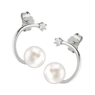 Kolczyki srebrne z perłą białą 7mm na łuku CP PPB93077 próba 925 Sezam - 1