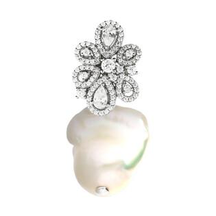 Srebrna zawieszka z perłą białą MABE i cyrkoniami CP PPC96493 próba 925 Sezam - 1