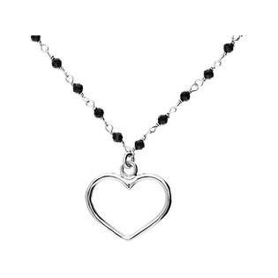 Naszyjnik srebrny z sercem i czarnymi kulkami szklanymi LO CGSW0002 ROD próba 925 Sezam - 1