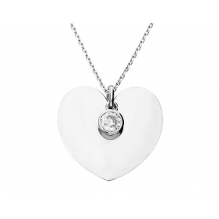 Naszyjnik srebrny z dużym sercem i cyrkonią w oprawie RT CL21124 rod próba 925 Sezam - 1