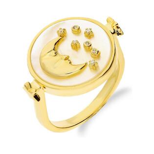 Srebrny pierścionek pozłacany z księżycem i gwiazdkami na masie perłowej CP RZB96996 próba 925 Sezam - 1