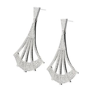 Kolczyki srebrne AURORA wachlarze ażurowe z cyrkoniami OA VA0108 KK próba 925 Sezam - 1