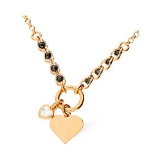 Naszyjnik srebrny pozłacany różowym złotem z sercem i ruchomą cyrkonią LO CGSW0005 ROSE próba 925 Sezam - 1