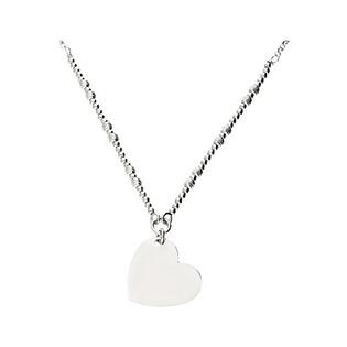 Naszyjnik srebrny z sercem gładkim i kulkami NI495 próba 925 Sezam - 1