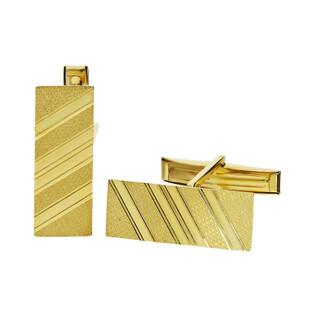 Złote spinki do mankietów prostokąty w paski CB G-060 próba 585 Sezam - 1