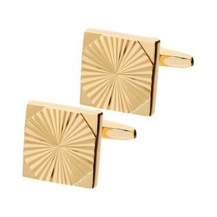 Stalowe spinki do mankietów kwadraty żłobione kolor różowego złota AT0686 Sezam - 1