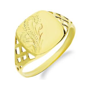Złoty sygnet z ozdobnym wzorem i ażurowymi bokami MZ T23-RUK-13 próba 375 Sezam - 1