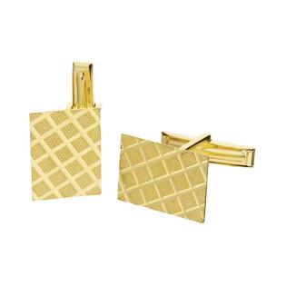 Złote spinki do mankietów prostokąty w kratę CB G-067 próba 585 Sezam - 1