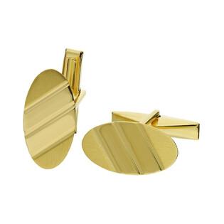 Złote spinki mankietówki owalne CB G-051 próba 585 Sezam - 1