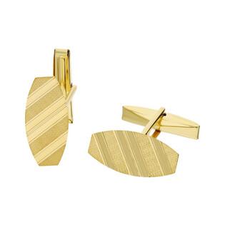 Złote spinki mankietówki beczułki w paski satynowe CB G-062 próba 585 Sezam - 1