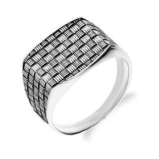 Sygnet srebrny oksydowany w kratę TB2370 próba 925 Sezam - 1