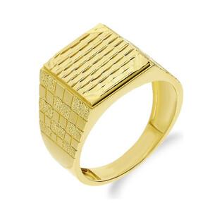 Sygnet złoty wzór w kratkę AR6135-DC-LZ-LP próba 585 Sezam - 1