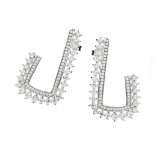 Kolczyki srebrne w kształcie litery L zdobione cyrkoniami JA686 próba 925 Sezam - 1