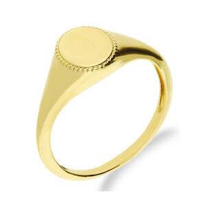 Sygnet złoty gładki z delikatną oprawą DJ92 próba 585 Sezam - 1