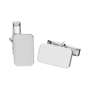 Gładkie spinki do mankietów ze srebra MV 009BLA-1 próba 925 Sezam - 1