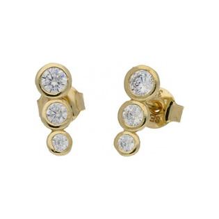 Kolczyki złote z cyrkoniami sztyfty nr MZ ES156-CZ próba 585