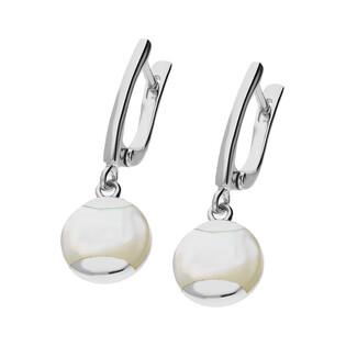 Kolczyki kółko z białą masą perłową NJ 7436 próba 925