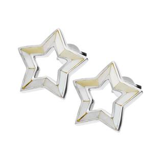 Kolczyki gwiazdka z białą masą perłową NJ08 2610468 próba 925