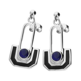 Kolczyki wahadło lapis lazuli z czarną emalią NJ12-1 2620212.2 próba 925