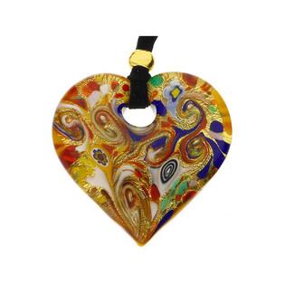 Naszyjnik OVER serce+aksamitka KQ111 folk-złoto-czerwony