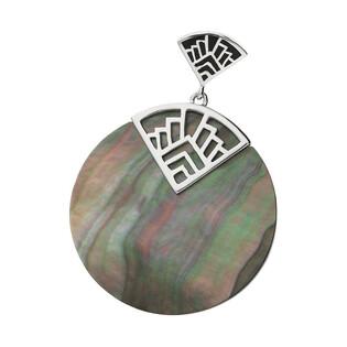 Zawieszka kółko z zieloną masą perłową i trójkątem z emalią NJ19 1610039.1 próba 925