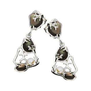 Kolczyki siatka z szaro-fioletową masą perłową i perłą NJ 7832 próba 925