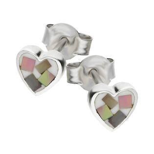 Kolczyki serce z masą perłową NJ 7132-1 próba 925