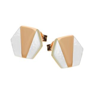 Kolczyki sześciokąt rose z białą masą perłową NJ20 2610635.1 próba 925