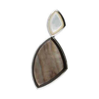 Zawieszka trójkąt obły z szarą masą perłową NJ17 1610015 próba 925