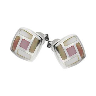 Kolczyki kwadrat z masą perłową NJ09 2610464 próba 925