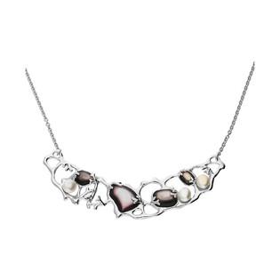 Naszyjnik siatka z szaro-fioletową masą perłową NJ30 6610012 próba 925
