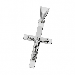 Krzyżyk srebrny wizerunek Jezusa blask + satyna ramiona kwadratowe MV KD143 próba 925