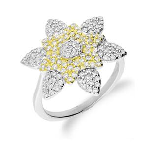 Pierścionek srebrny dwukolorowy motyw kwiatka nr A0 AUR 014