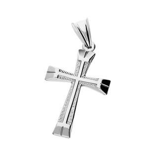 Krzyżyk srebrny gładki blask + faza ramiona rozszerzone MV K024 próba 925