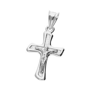 Krzyżyk srebrny z wizerunkiem Jezusa żłobiony ramiona skośne MV K187 próba 925