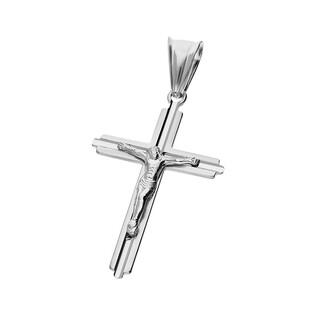 Krzyżyk srebrny wizerunek Jezusa środek faza ramiona kwadratowe MV KD089 rod próba 925