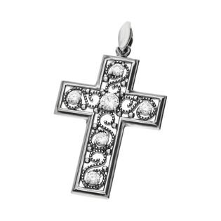 Krzyżyk ornament z cyrkoniami SZ215 próba 925