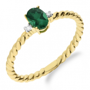 Pierścionek zaręczynowy z diamentem i szmaragdem KU 291218 EM owal obr.sznur próba 585Katalog Produkty