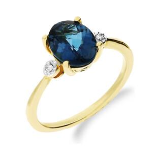 Pierścionek zaręczynowy z diamentami i topazem London Blue KU 100916 LBT owal próba 585Katalog Produkty