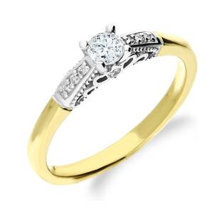 Pierścionek zaręczynowy z diamentami ROYAL RSTB033 ornament pod koroną próba 585